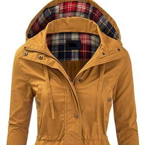 MUSTARD PLAID BOUTIQUE MILITARY JACKET HOODIE NEW
